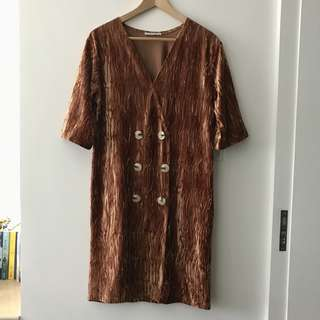 ZARA 復古薄絨布裝飾釦洋裝