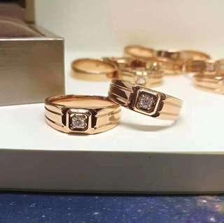 18K 玫瑰金鑽石男戒💍3D空心工藝💎簡約大方 鑽戒不只是女生專屬😏
