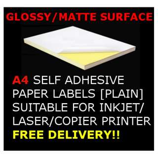 [20/40/60/80 SHEETS][MATTE/GLOSSY SURFACE] A4 Adhesive Paper for Inkjet/Laser/Copier printing labels