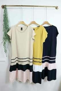 韓 下拼接配色裙擺 短袖棉質洋裝