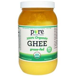 AVAILABLE Pure Indian Foods, Ghee, 100% Organic Grass-Fed, 15 oz (425 g)