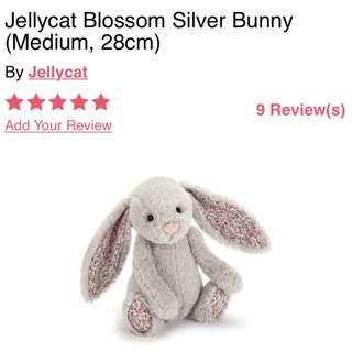 BNIP Jellycat blossom silver bunny (medium)