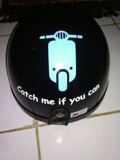 Helm Chip Motif Vespa & Kaca Bogo Smoke Bubble Biasa