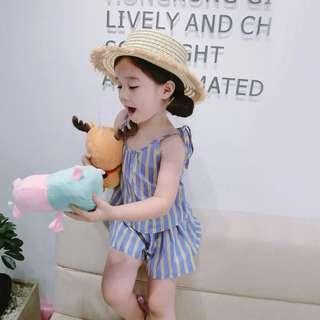 🚚 韓版 春夏新款 女童條紋上衣+短褲兩件式套裝