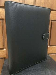 Binder 26 Ring B5 Black Faux Leather With Padding , Clasp , and Pen Loop