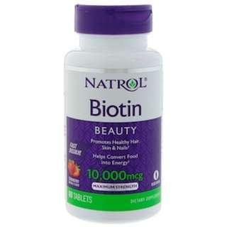 AVAILABLE Natrol, Biotin, Strawberry Flavor, 10,000 mcg, 60 Tablets