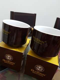 Old Town White Coffee cup x2, a pair. #worldcup100