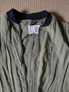 Bershka long green jacket