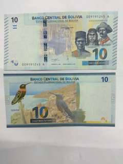 Bolivia 10 bolivianos 2018 issue