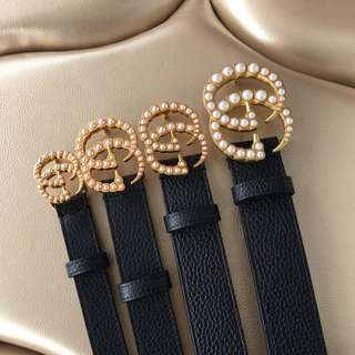 Gucci Leather Belt wiith Pearl Double  G