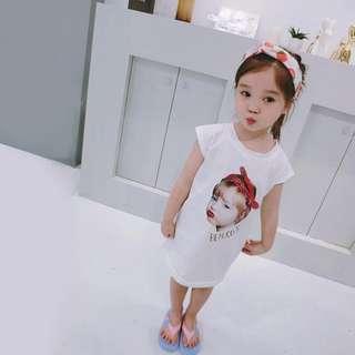 🚚 韓版 春夏新款 女童人像長版上衣/洋裝/親子裝/母女裝