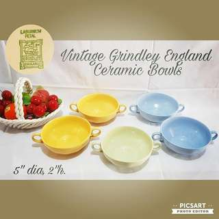 Rare 1950s Vintage GRINDLEY ENGLAND Colourful Ceramic Bowls with two ears. Good Condition, no chip no crack. All 5pcs for $20 Clearance Offer! Sms 96337309.