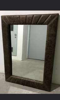 Large Luxury Top Grain Full Leather Framed Mirror