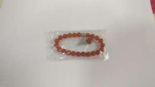 天然橙紅瑪瑙單圈手鍊8mm 加吊墜 10mm 圓珠