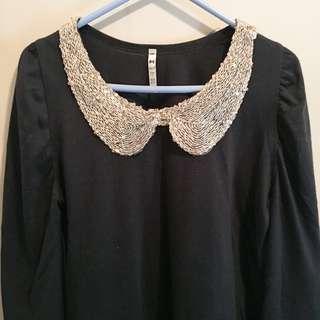 韓國製 珠片領 公主袖 長袖襯衫 長袖衫