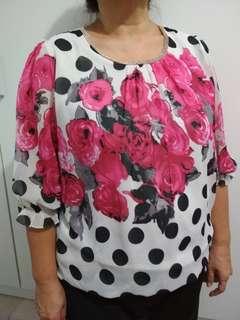 Atasan bunga pink polka