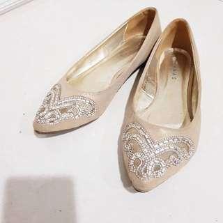 Ananas Flat Party Shoes Sepatu wedding Glitter Crystal Shimmer Bling Cream Khaki Skin