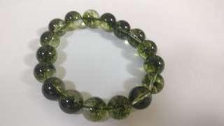 巴西天然綠幽靈水晶手鍊12mm