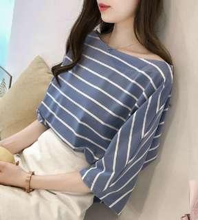 77961 #韓版大碼條纹寬鬆半袖衣  尺码: M L XL 2XL 3XL 4XL  颜色: 藍色 白色 黄色