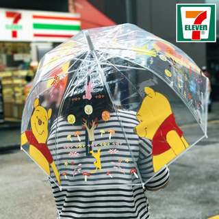 Last Piece Ready Stock Hong Kong 7-11 7 Eleven Winnie the Pooh Transparent Long Umbrella