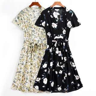 OshareGirl 07 美單女士花卉印花綁帶鬆緊連身洋裝連身裙
