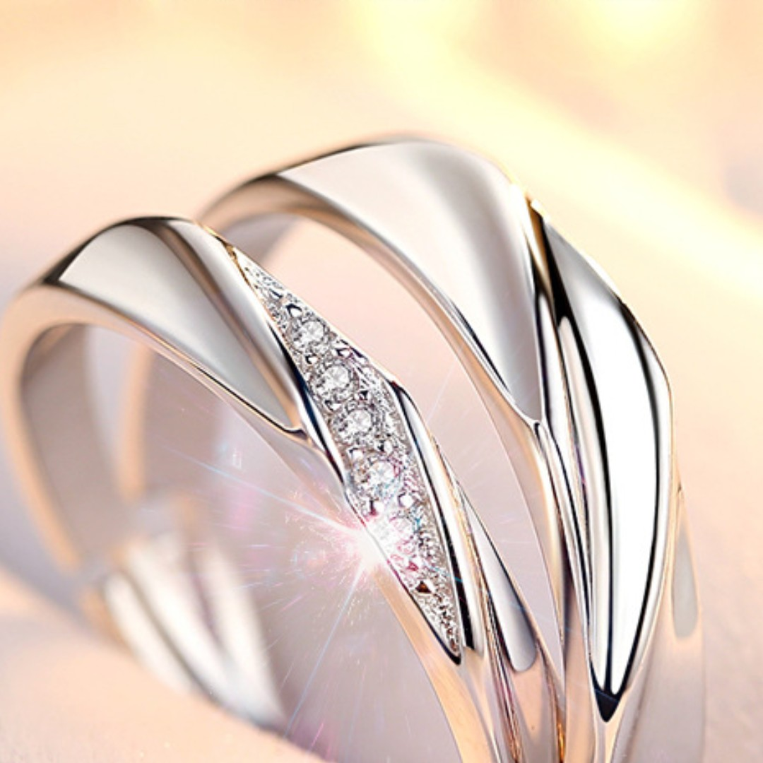 4bac4d60f6 925 Sterling Silver Sharing Love Couple Rings, Women's Fashion ...