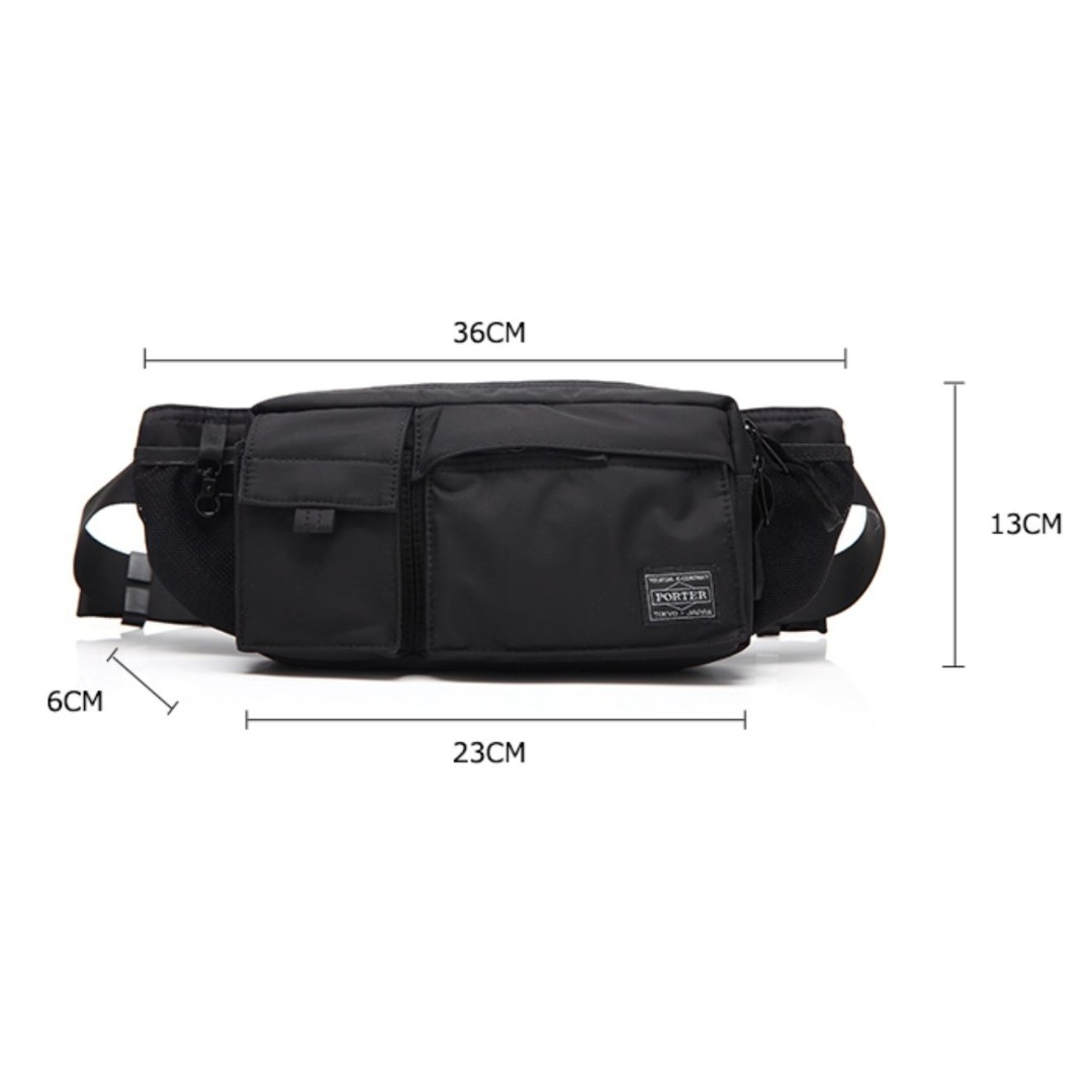 🔥 PORTER YOSHIDA JAPAN - NYLON WAIST POUCH WITH MULTIPLE ... 1825376857494