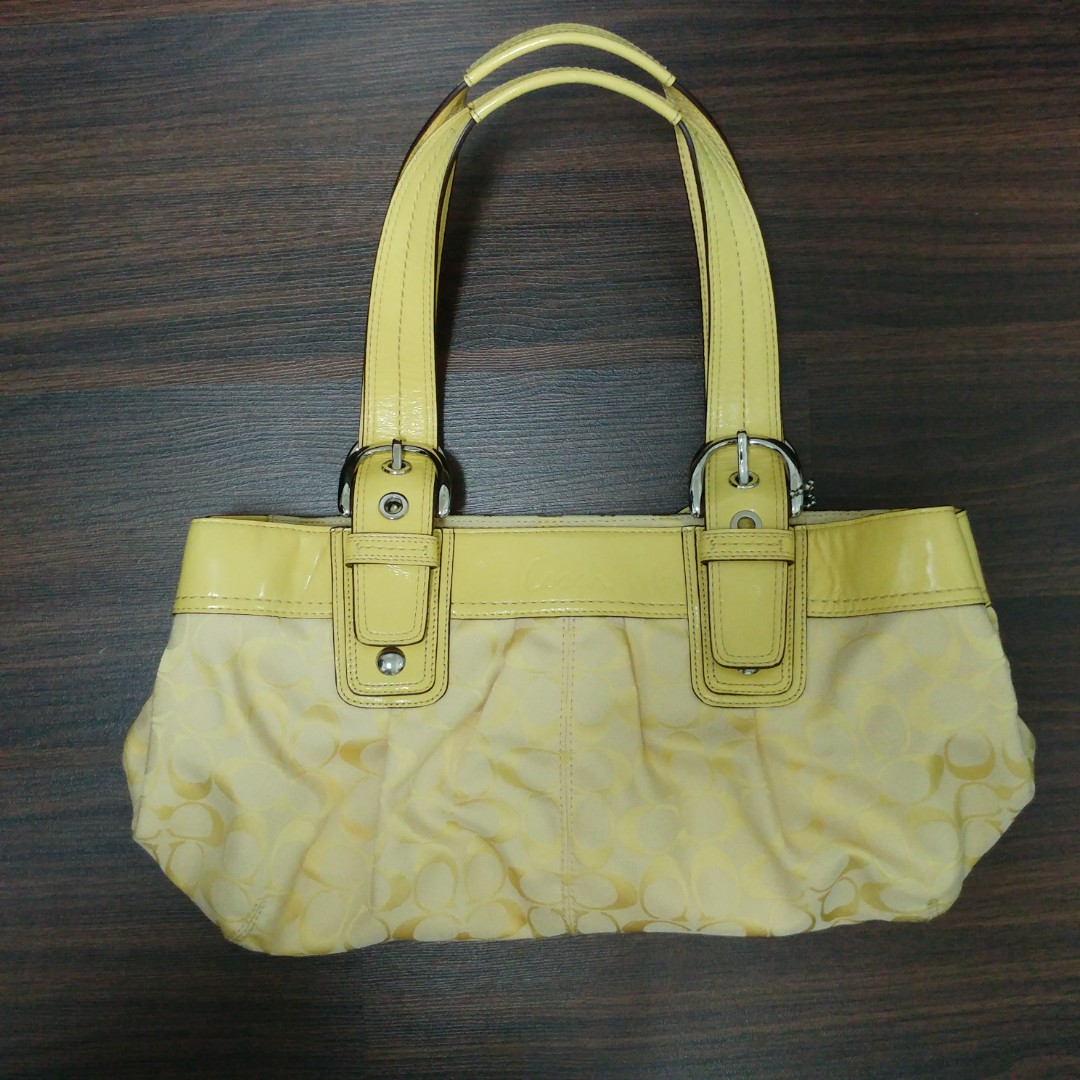 9ded302599 Coach Handbag Soho Pleated Signature Tote Bag in Yellow F13742 (100 ...