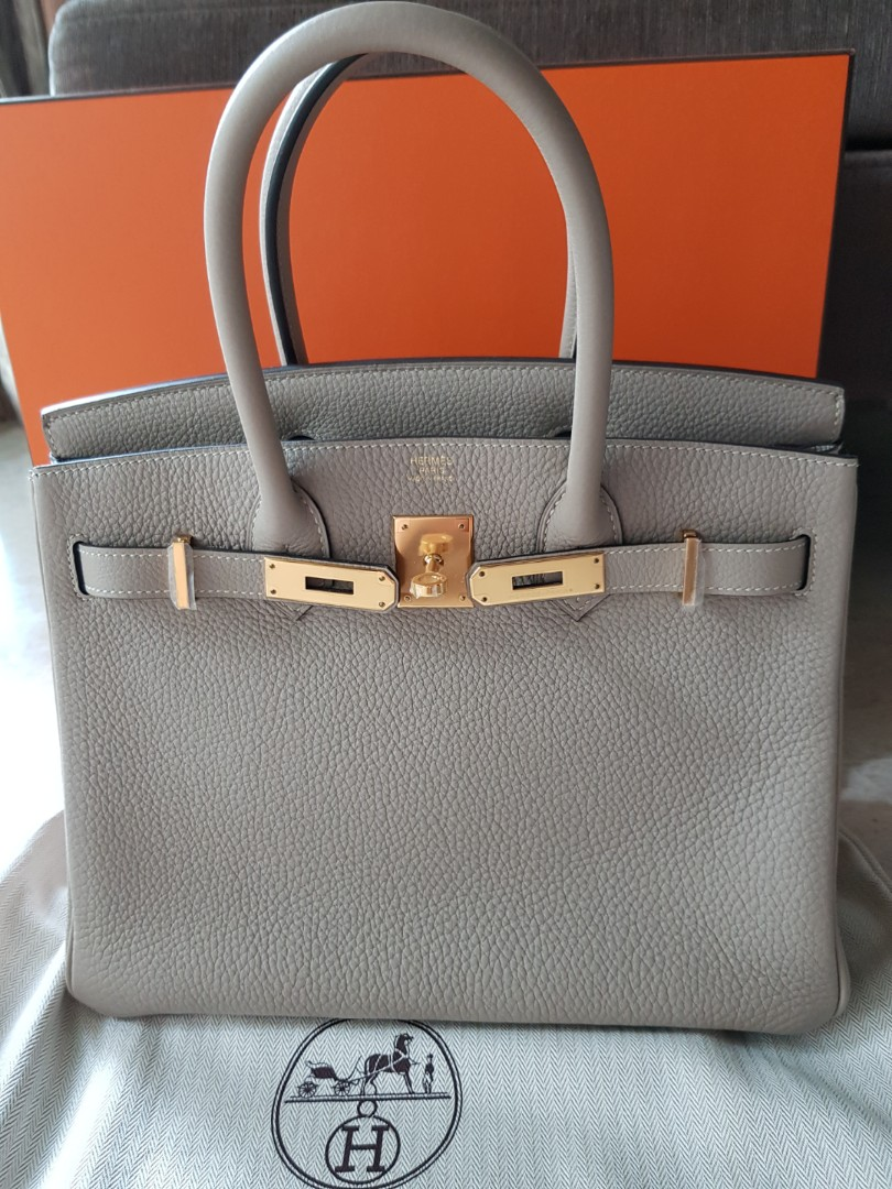 Authentic Hermes Birkin 30 Gris T Ghw b4520658ad1f2