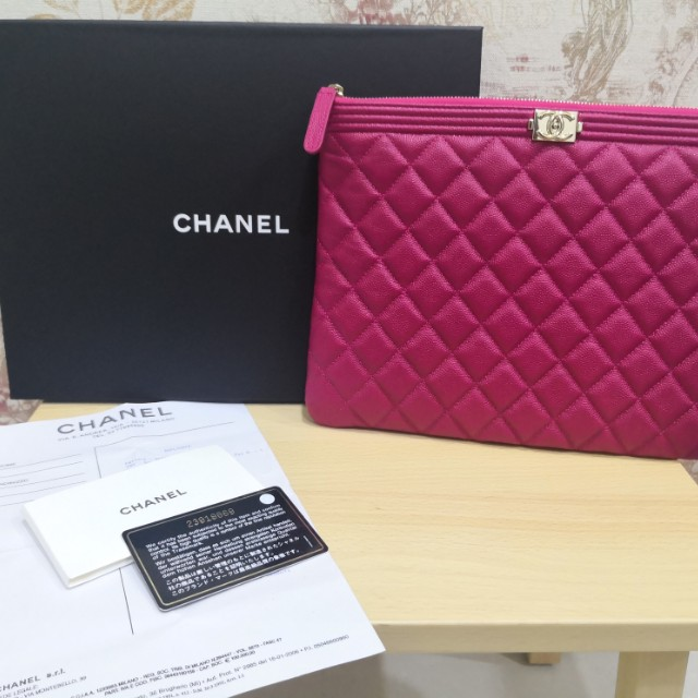 233a7ad65e98 Chanel boy hot pink pouch