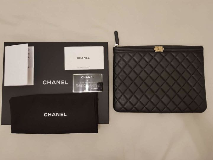 04f9f63fa1fe Chanel Boy Pouch with GHW (Full Set), Luxury, Bags & Wallets ...