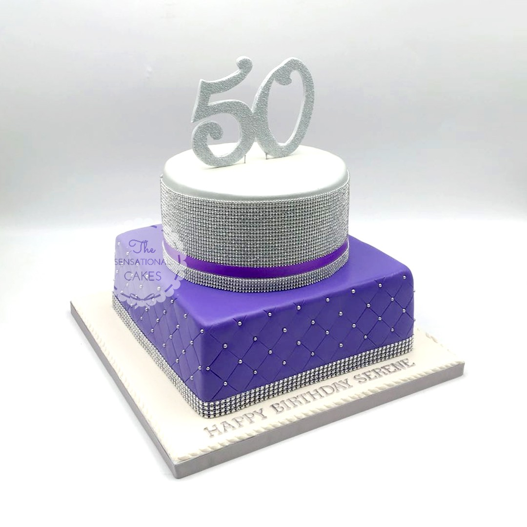 Classy And Elegant Silver Purple 50th Birthday Theme Cake Singaporecake Food Drinks Baked Goods On Carousell