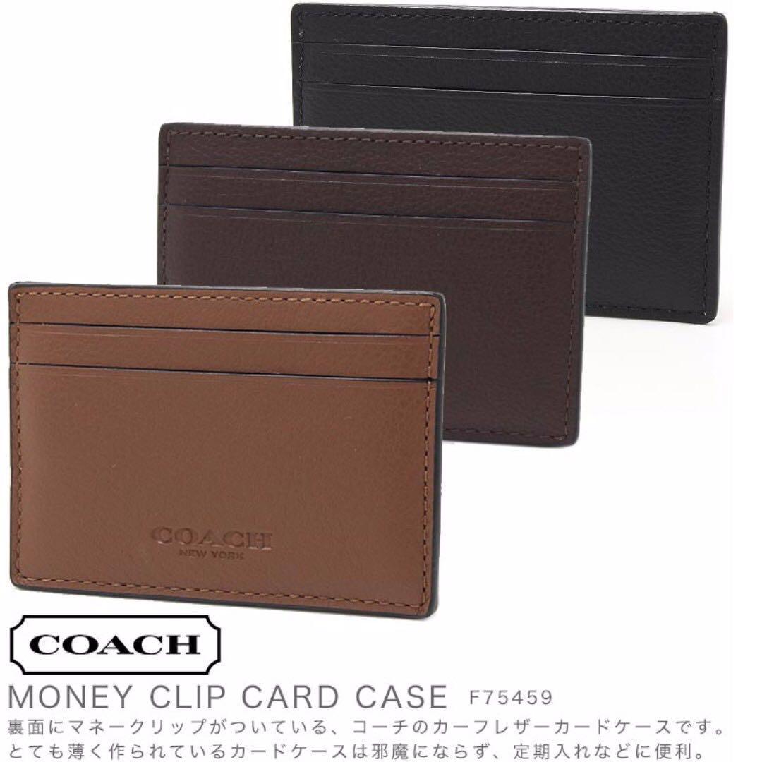 978415a9 Coach Money Clip Card Case In Calf Leather (F75459), Men's Fashion ...