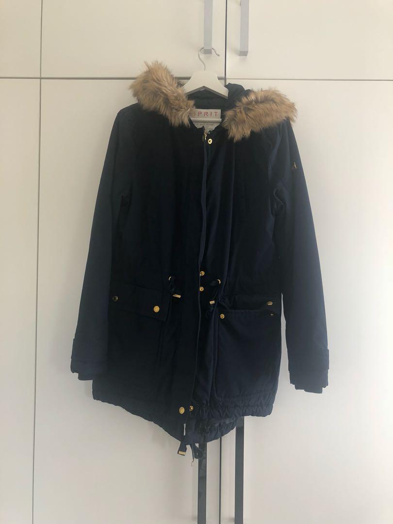Esprit coat with fur hood