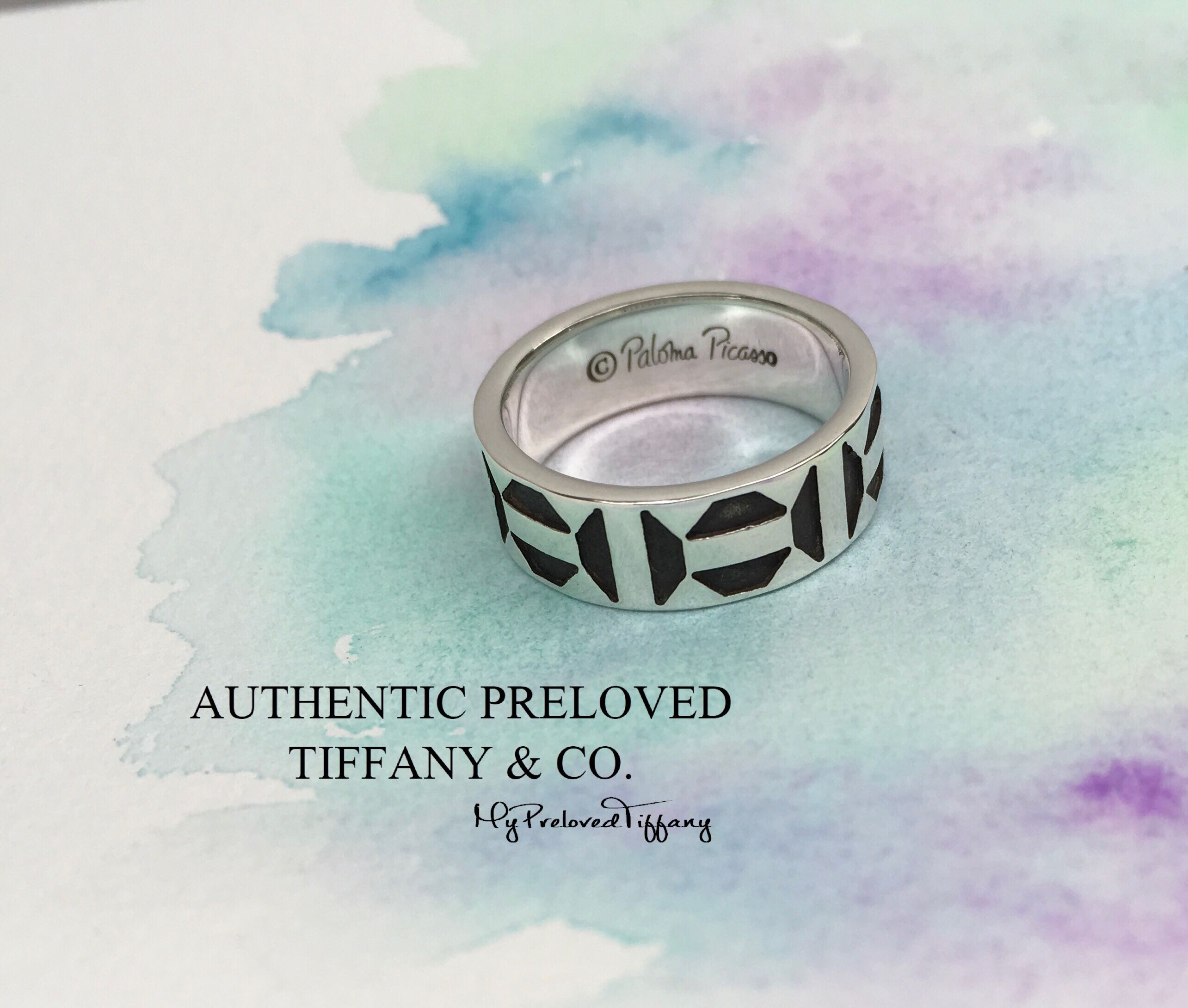 7f25bddf4 Excellent Authentic Tiffany & Co Paloma Picasso Oxidized Zellige Silver  Ring #6.75, Women's Fashion, Jewellery, Rings on Carousell