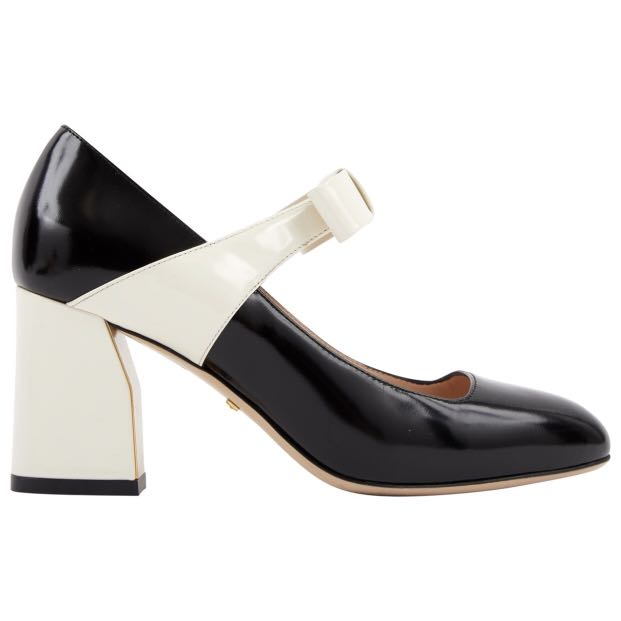 307246a641d2 Gucci Black and White Patent Bow Heels