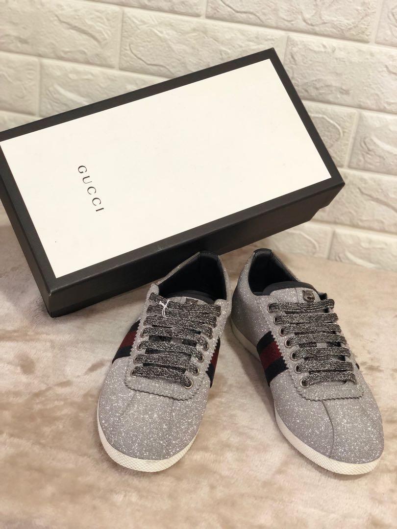 3e861f50ecac Gucci Glitter Web Studded Sneaker, Luxury, Apparel on Carousell