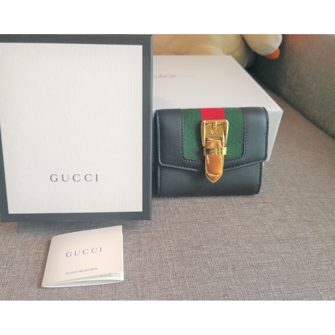 6cfd75f3e7aa GUCCI Sylvie leather wallet (BLACK), Luxury, Bags & Wallets, Wallets on  Carousell