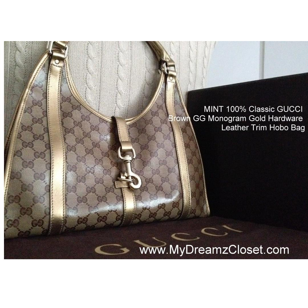 MINT 100% Classic GUCCI Brown GG Monogram Gold Hardware Leather Trim Hobo Bag