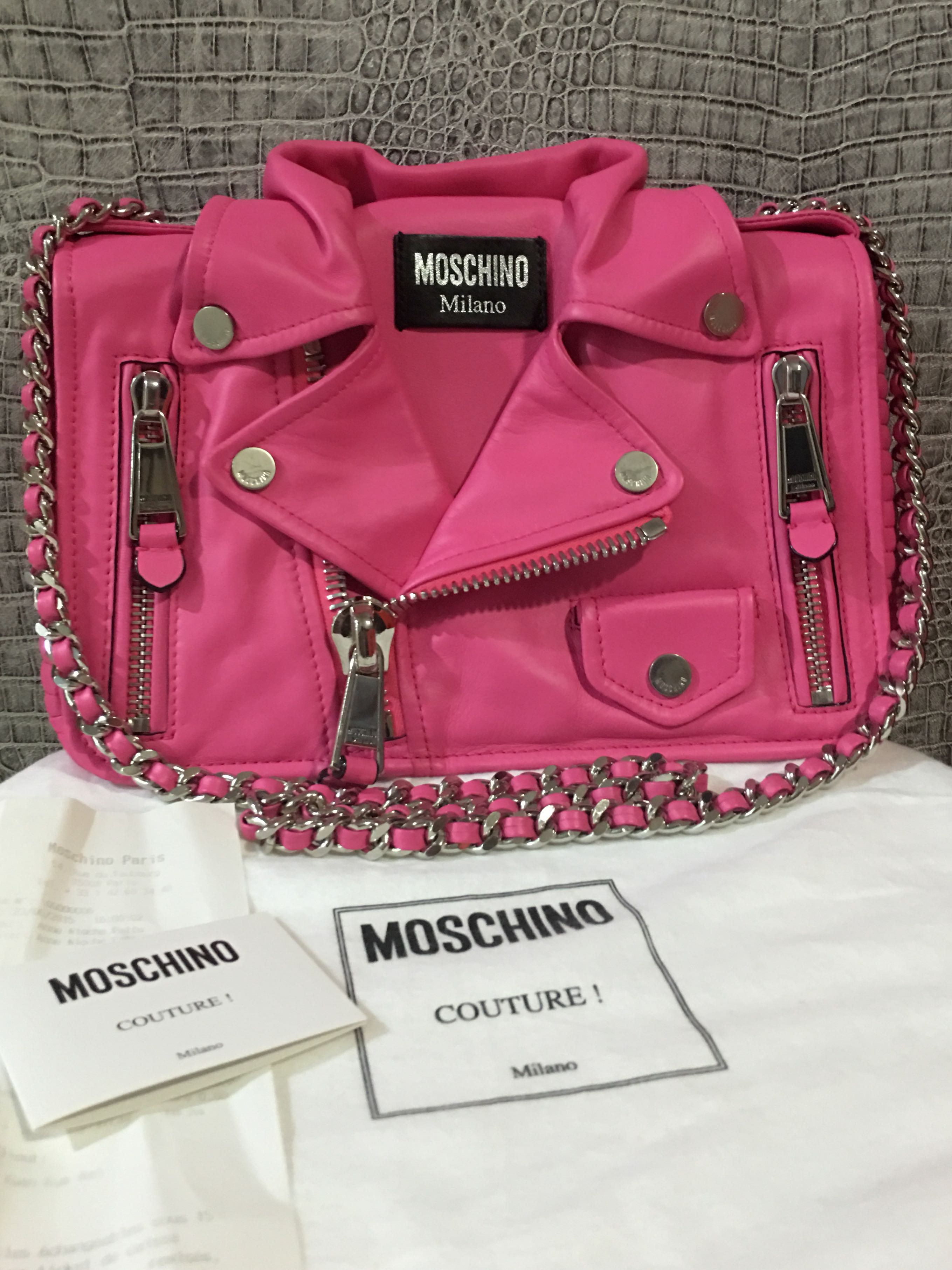 009e1604047 Moschino Biker Leather Shoulder Bag, Luxury, Bags & Wallets on Carousell