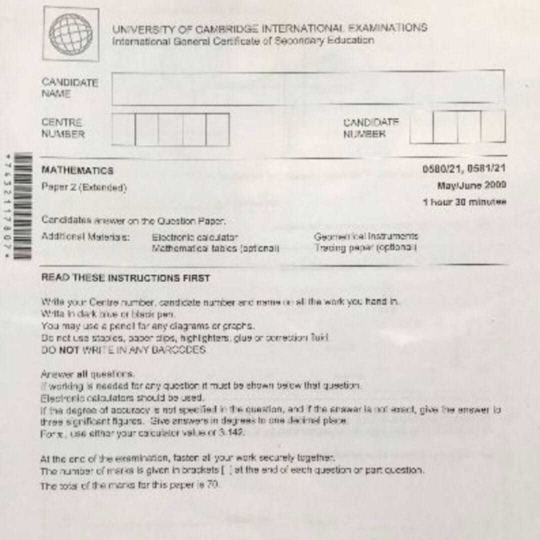 NEW IGCSE Mathematics Past Year Papers Set (Question Paper +
