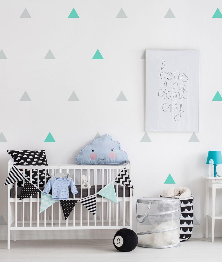 Nordic Ins Triangle Wall Sticker Diy Home Decor Black Light Grey