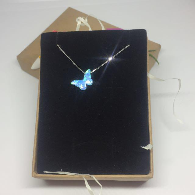 Opal Simulant Pendant with S925 Sterling Silver Chain Necklace:
