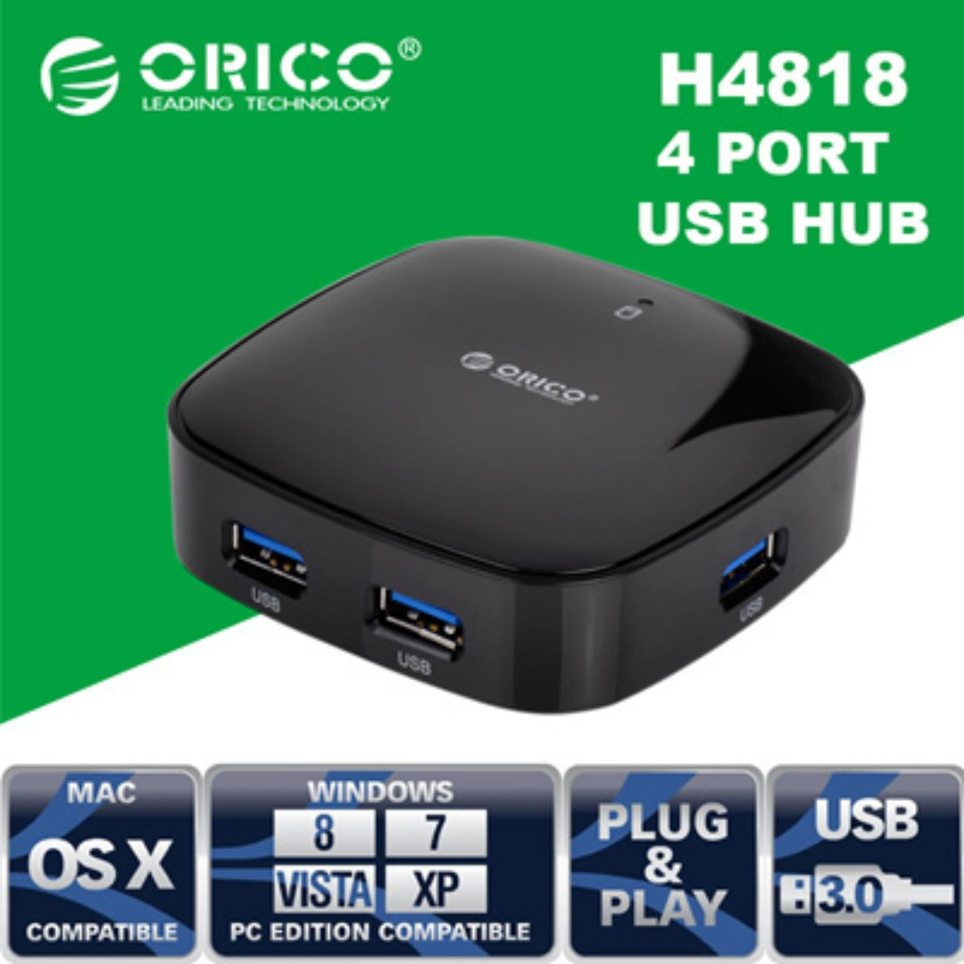 Orico H4818 Usb 30 Hub 4 Port 5gbps Black Electronics Ultra Mini High Speed 8 Inch Cable Share This Listing