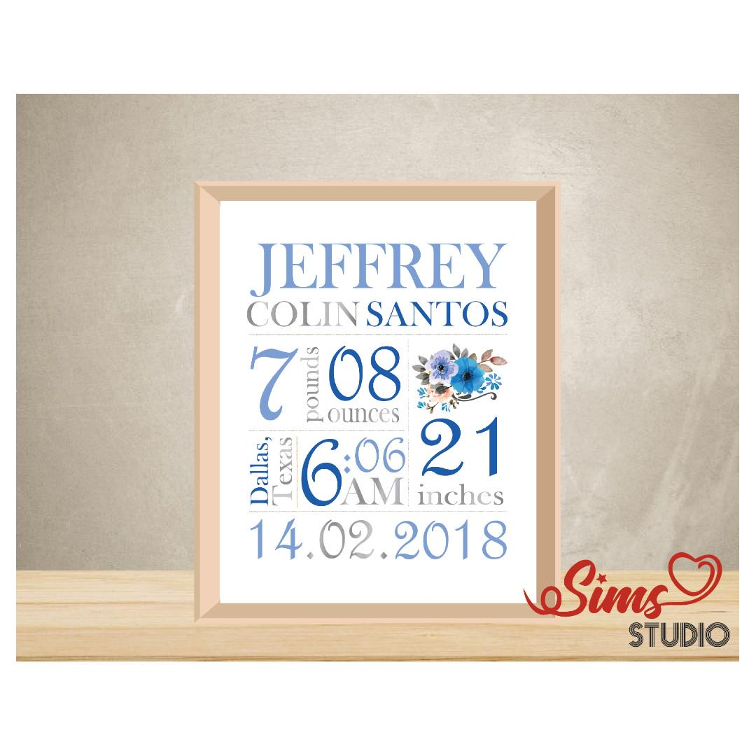 photograph regarding Printable Baby Announcement named Custom-made Beginning Statistics Wall Artwork, Fresh Born Little one Boy, Start