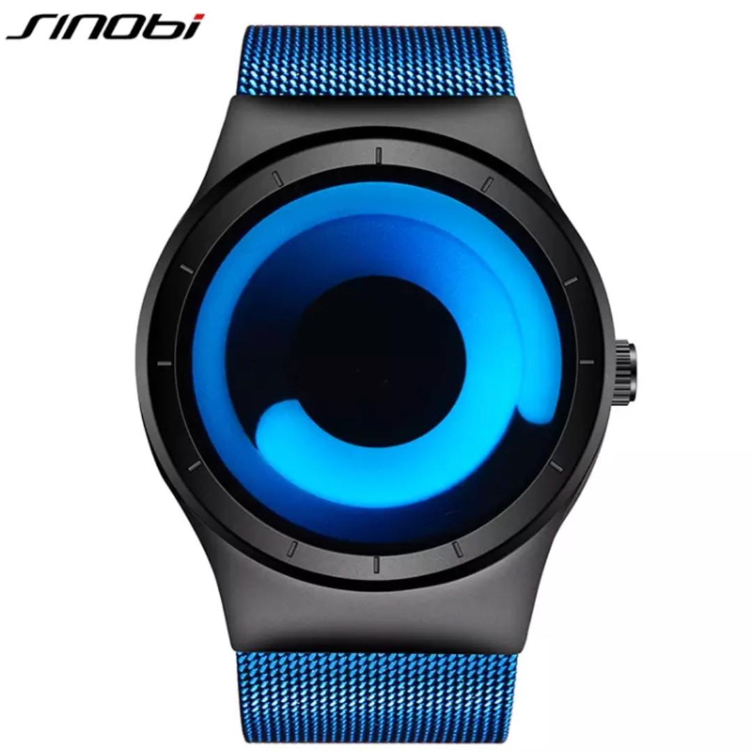 03fd00000e2 Sinobi Men Rotate Design Stainless Steel Mesh Strap watch (Relogio Masculino)