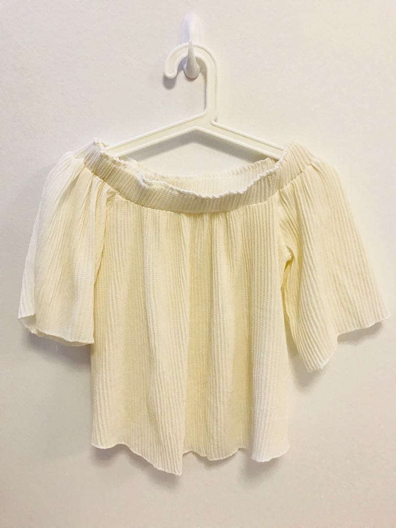 f266fa0d452 Taiwan Off Shoulder Cream Blouse Top, Women's Fashion, Clothes, Tops ...