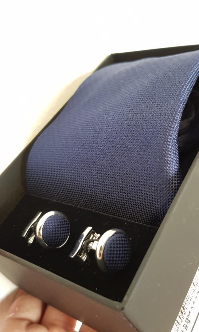 e6a2c66fe8ee TM Lewin dark blue tie and cufflink set, Men's Fashion, Accessories ...