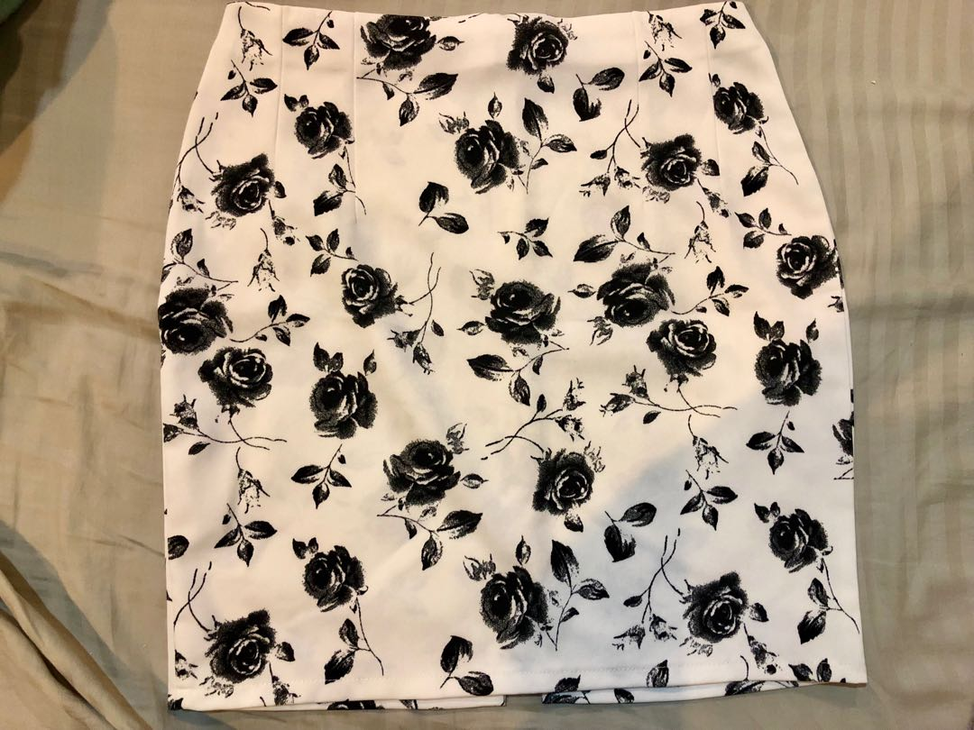 White Skirt With Black Flowers Womens Fashion Clothes Dresses
