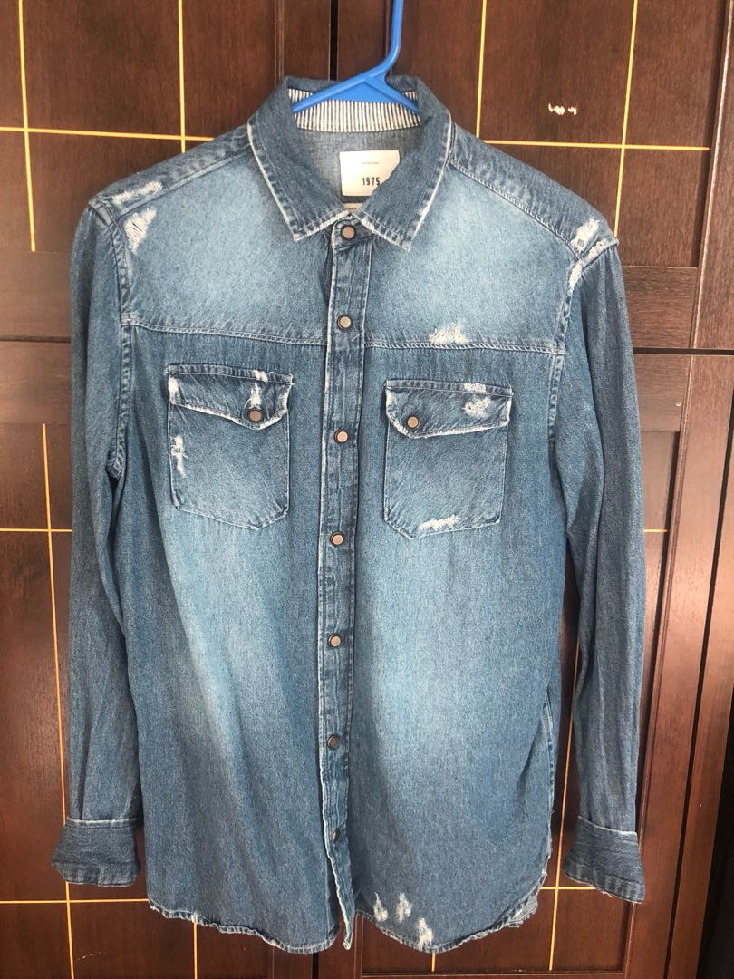 2e31bb189dd Zara Man Distressed Denim Longsleeve Shirt size medium